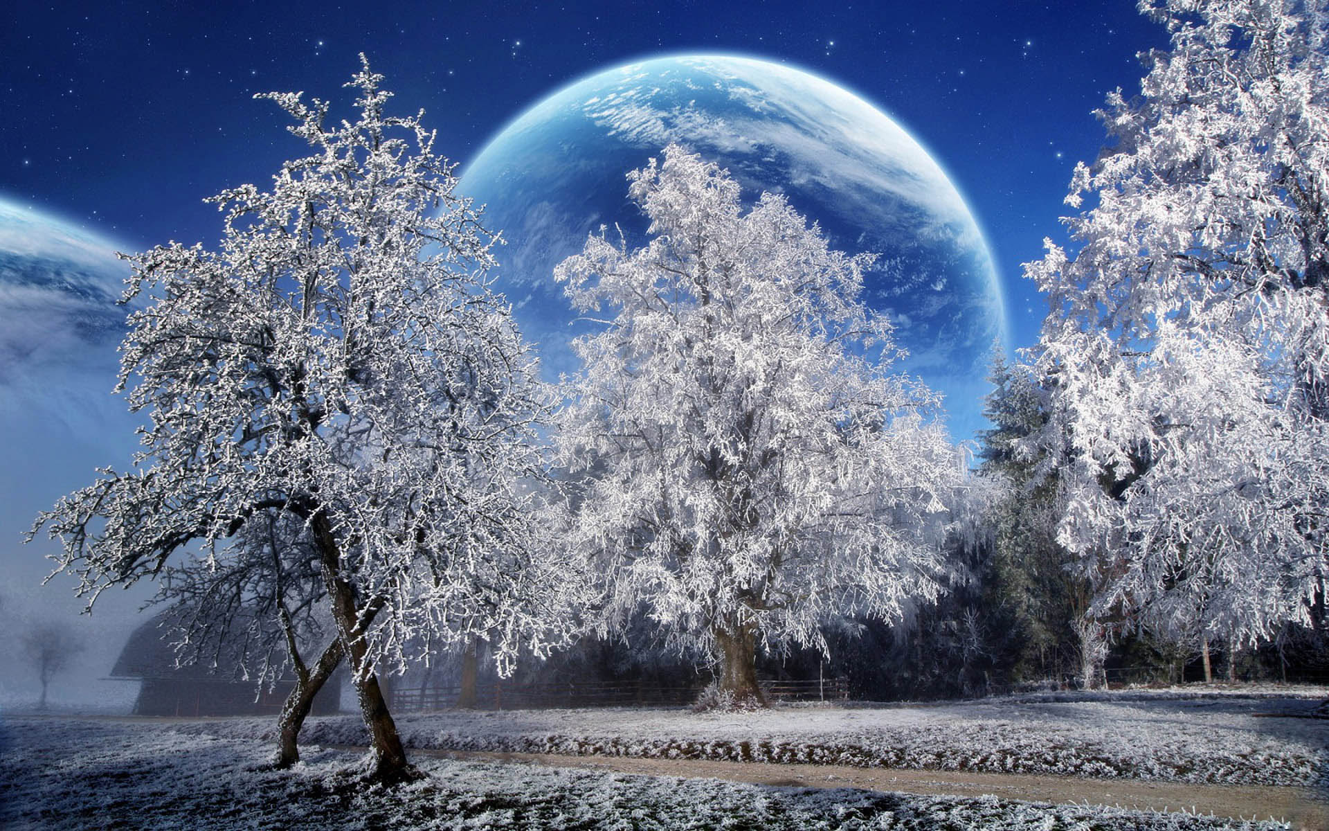Winter Scenery PowerPoint Background  2 1920x1200