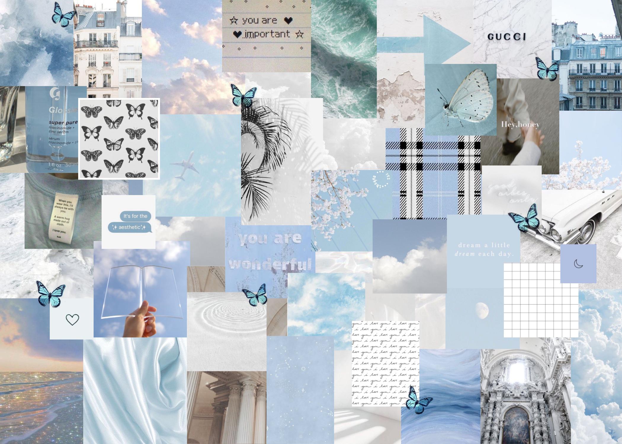 blue white aesthetic laptop wallpaper in 2020 Aesthetic 2100x1500