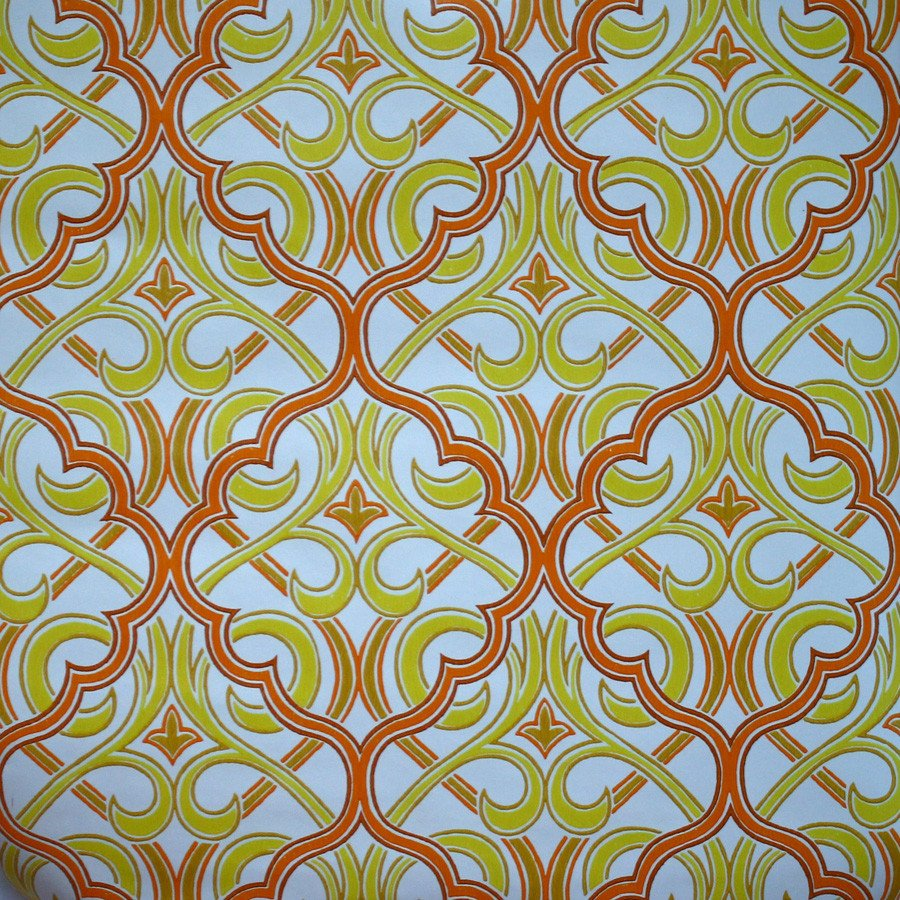 Moroccan Inspired Orange and Yellow Vintage Wallpaper Bay Vintage 900x900