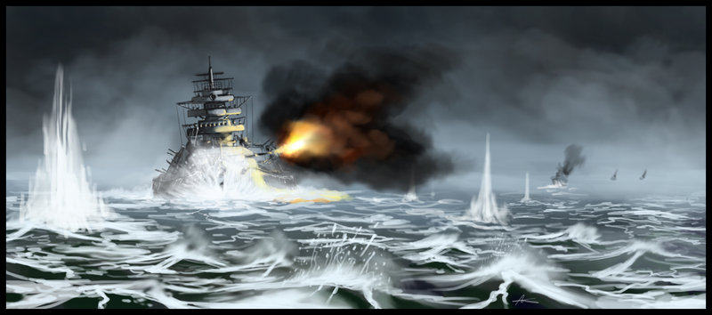 Bismarck battleship by highdarktemplar 800x354