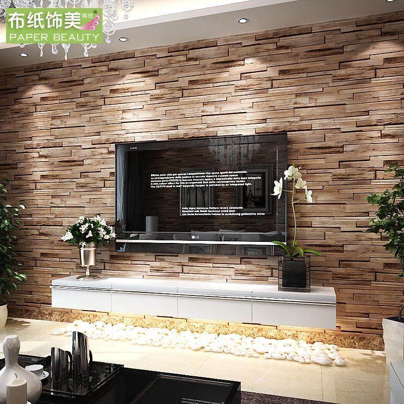 Wallpaper stone wall effect wallpapersafari for Brick effect wallpaper living room ideas