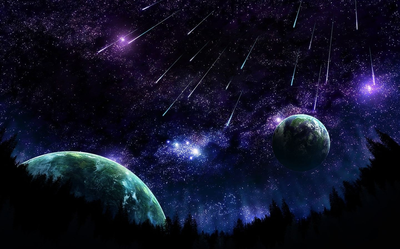 Wallpaper stars planet asteroid Shooting stars 1440x900