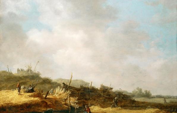 Wallpaper jan van goyen landscape with dunes painting landscape 596x380