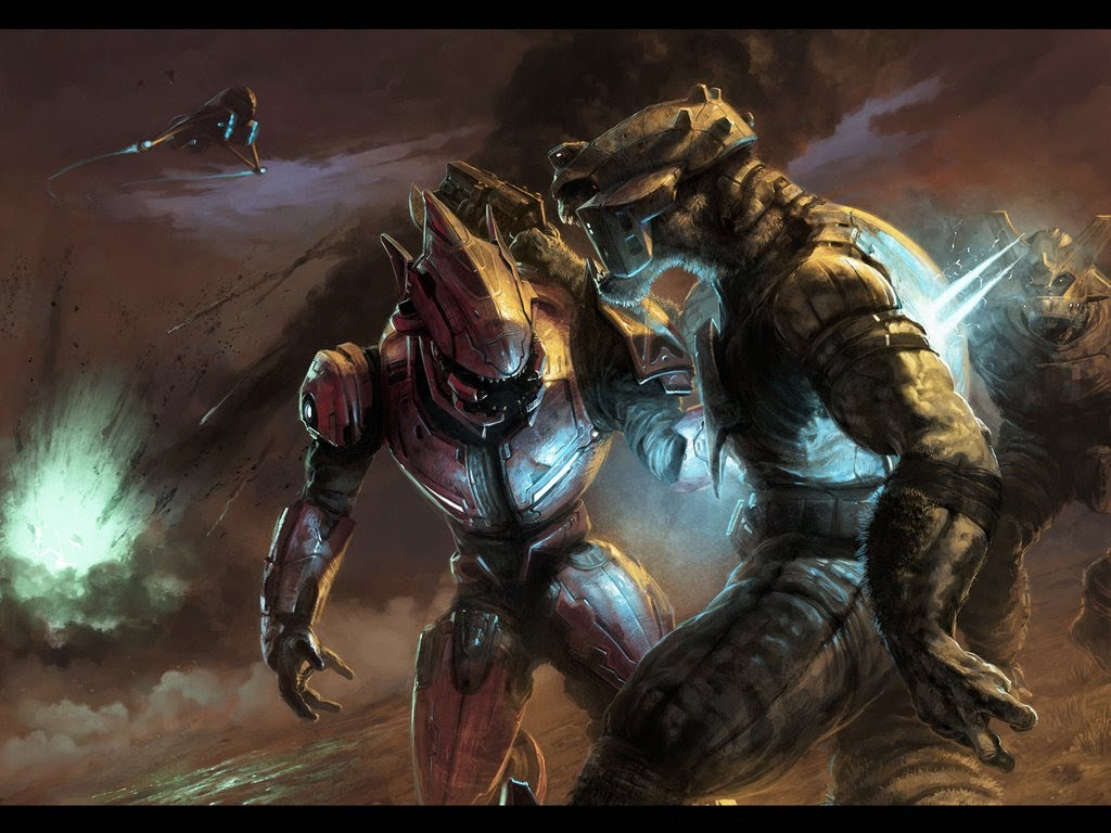 Halo Reach Elites Vs Brutes HD Wallpaper Background Images 1024x768