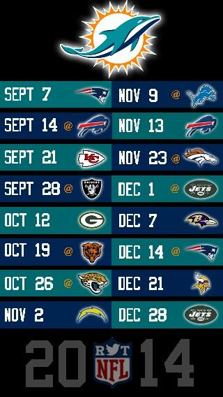 NFL 2014 MIAMI DOLPHINS IPHONE 5 WALLPAPER SCHEDULE 320x568