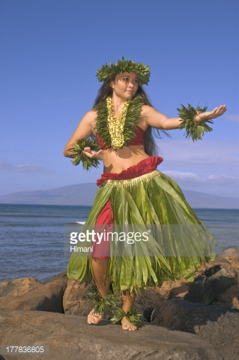 Hula dancer with haku lei in traditional outfit on rocky coast ocean 338x508