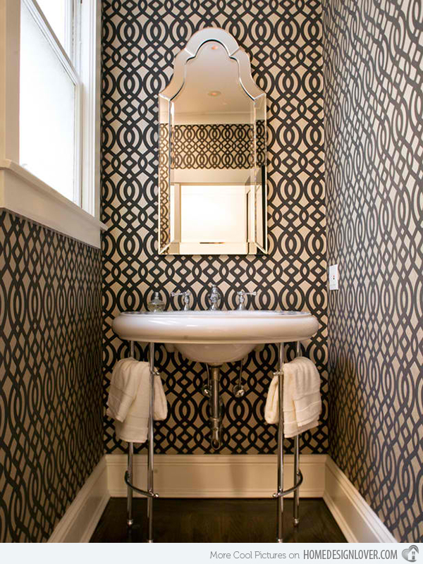 download black and white wallpaper in 15 bathrooms and powder rooms rh wallpapersafari com black and white wallpaper ideas black and white wallpaper room ideas