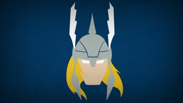 minimalisticThor minimalistic thor superheroes marvel blue background 600x337