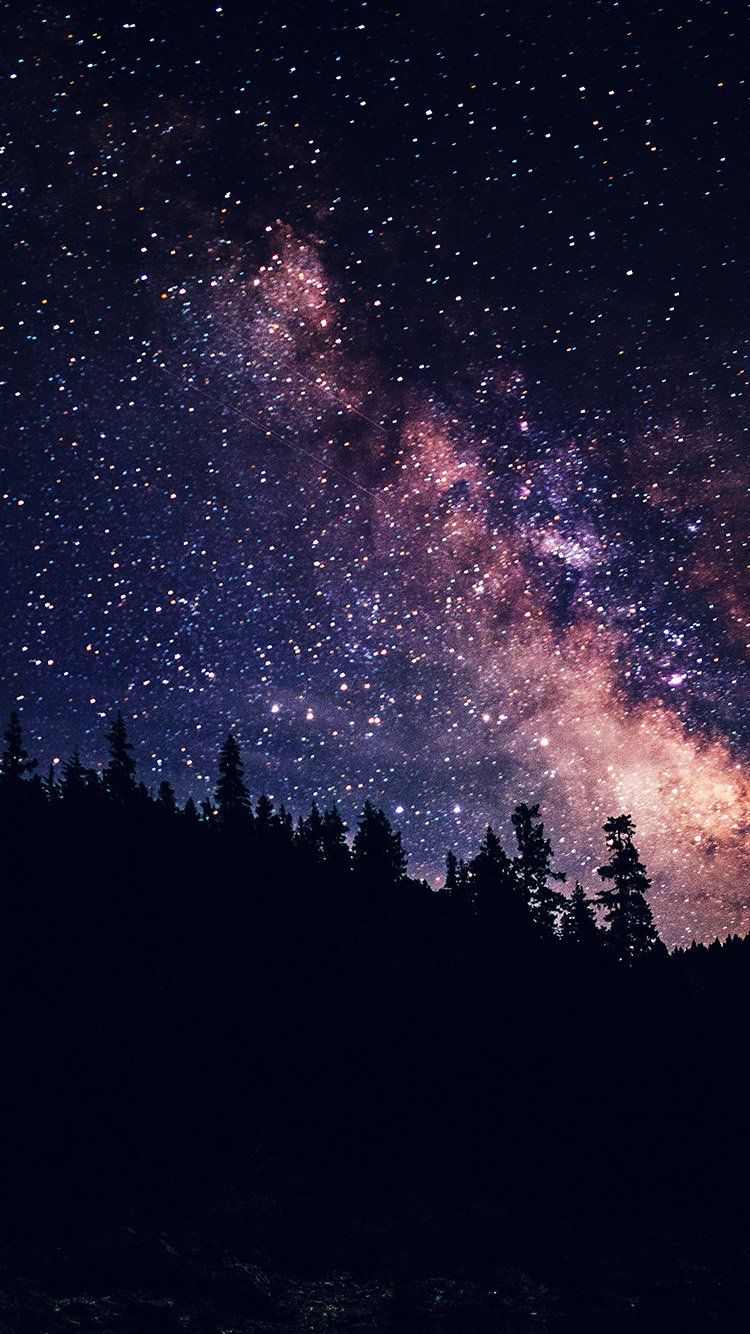 NIGHT SKY DARK SPACE MILKYWAY STAR NATURE WALLPAPER HD IPHONE 750x1334