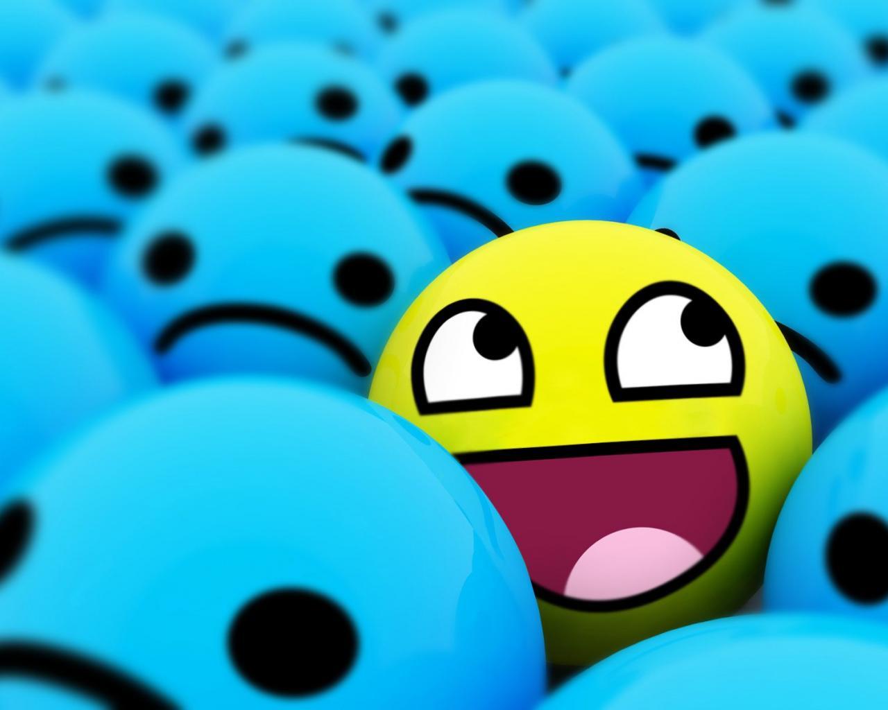 awesome d blue smiley face hd wallpaper   13392   HQ Desktop 1280x1024