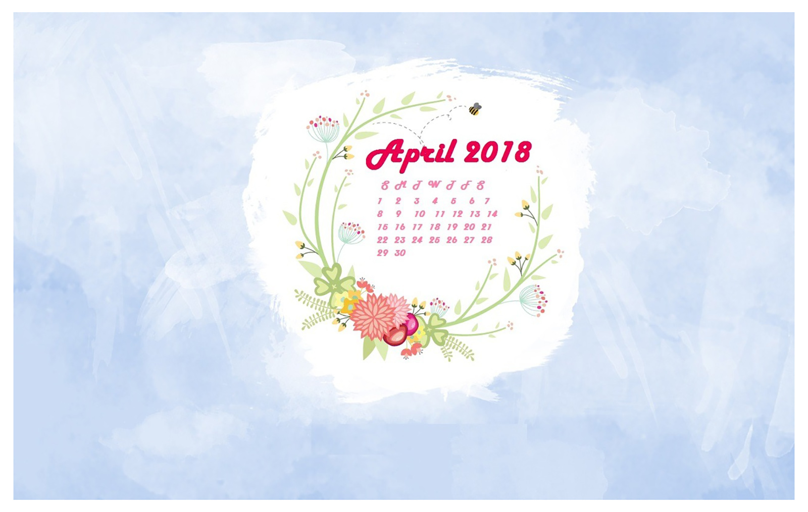 Wallpaper with April 2018 Calendar for PC iPad and SmartPhone 1600x1015