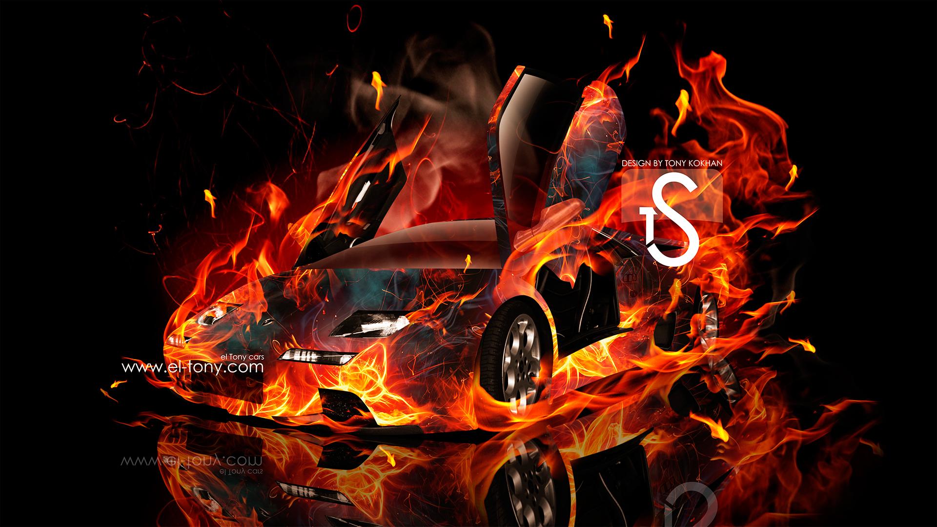 Lamborghini aventador side fire abstract car 2014 hd wallpapers design - Lamborghini Diablo Fire Car Speed Abstract 2013 Hd
