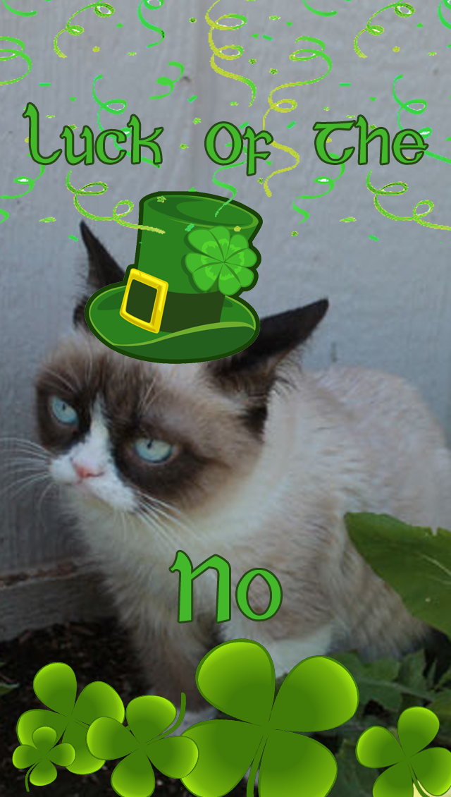 Luck of the No St Patricks Day iPhone Wallpaper tardcat 640x1130