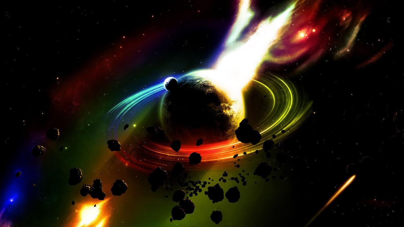 Graphics Planet Saturn Meteorite   1366x768 iWallHD   Wallpaper 1366x768