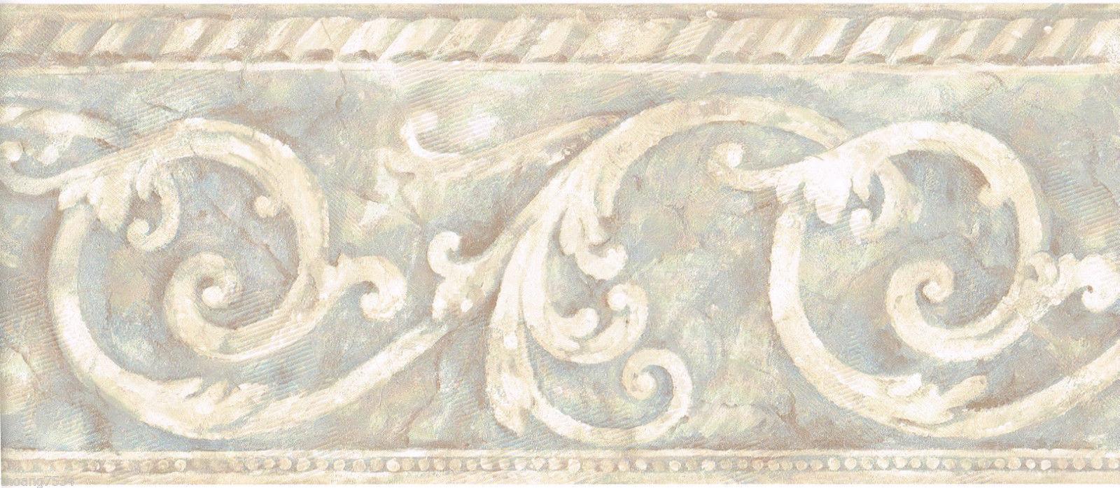 Acanthus Leaf Venetian Scroll Beige Blue Grey Wall paper Border 1600x697