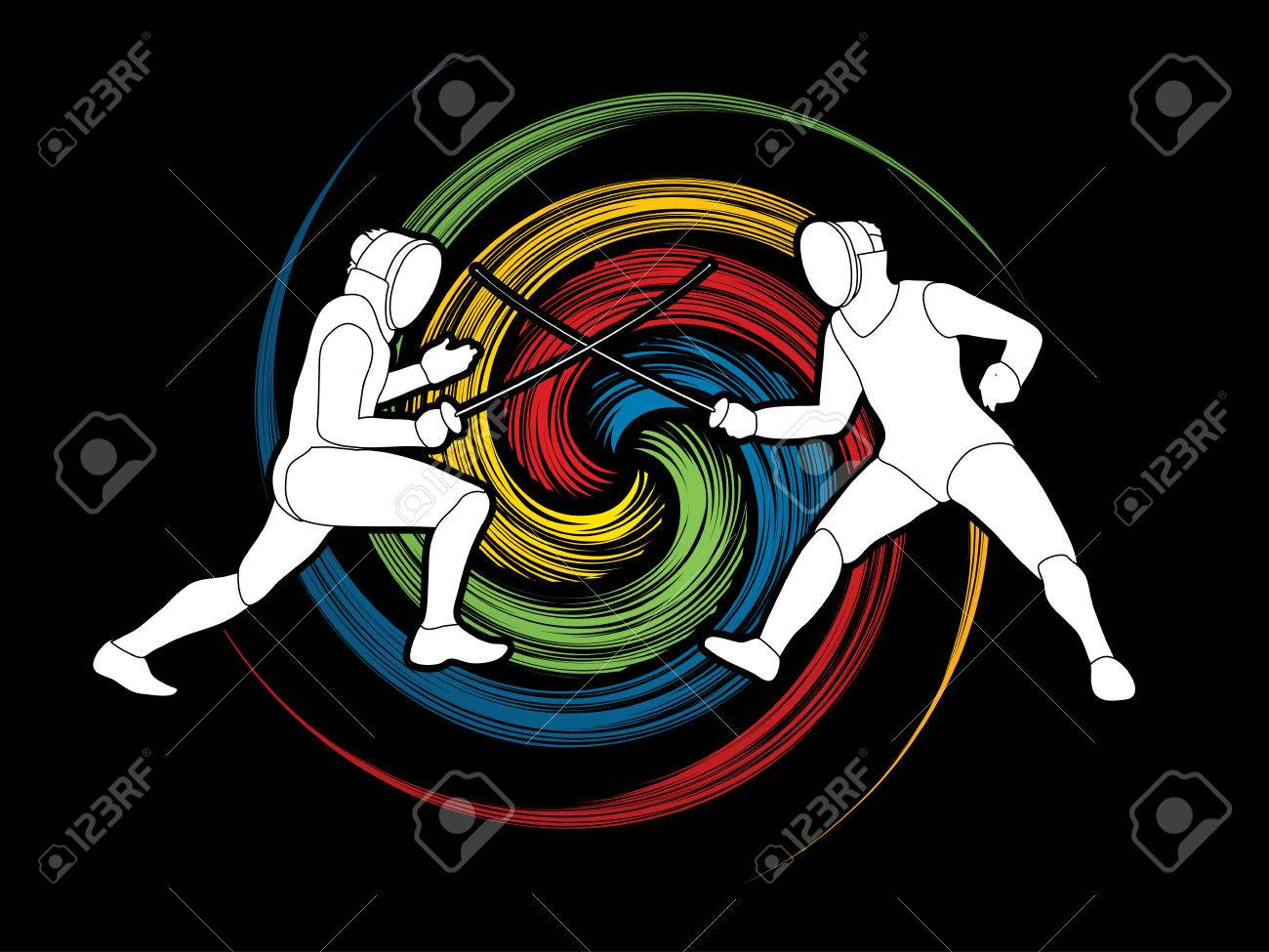 Fencing Fighter Designed On Spin Wheel Background Graphic Vector 1300x975