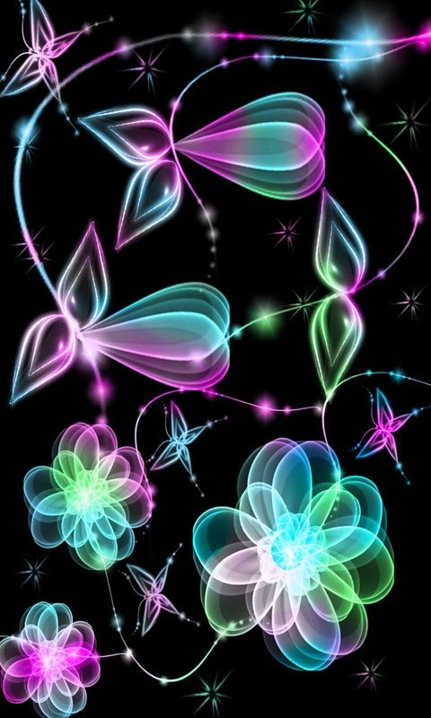 Glow Flowers cell phone wallpapers 480x800