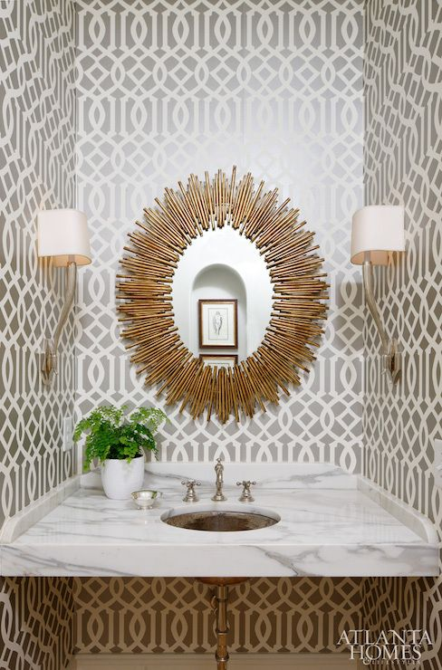 Kelly Wearstler Imperial Trellis Silver Wallpaper Discount Wallpaper 488x740