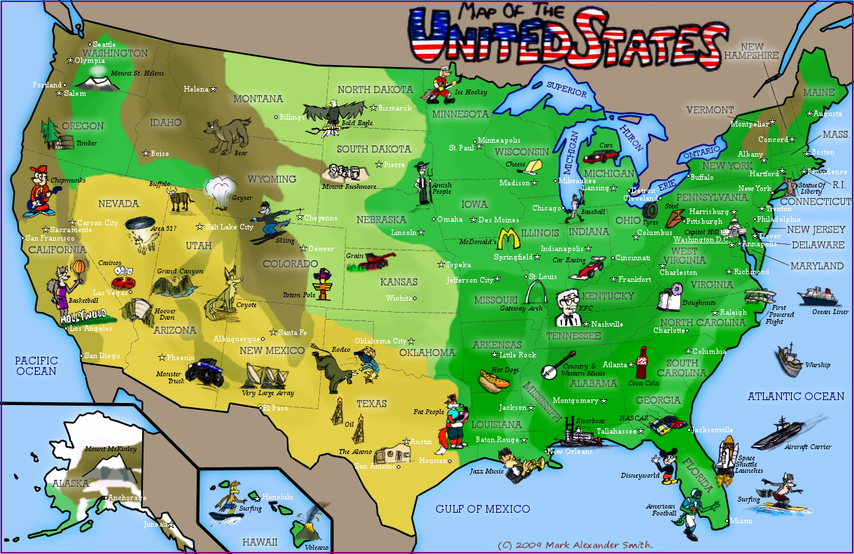 Map usa states road
