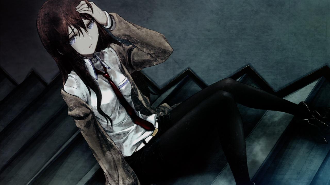 Download Makise Kurisu Anime Brown Hair Dark Game Girl Huke Wallpaper 1280x720