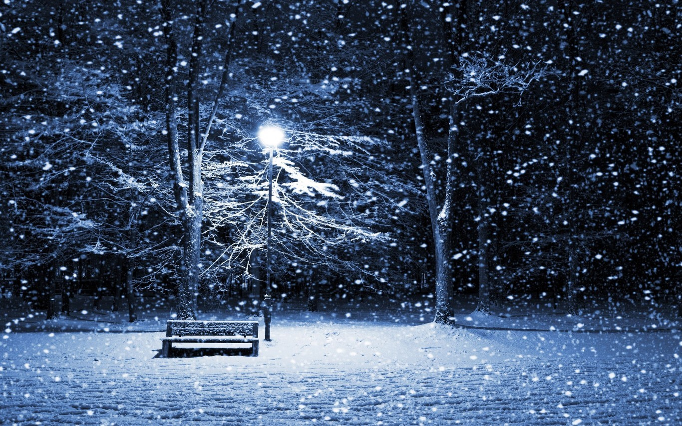 free hd snow storm park bench wallpapers 1366x854