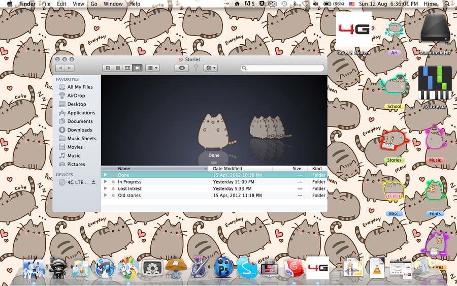 My Desktop   Pusheen Themed [Icon Pack Included] by penguimoo on 900x563