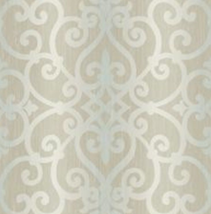 Gray and Aqua Large Ombre Stripe with Scroll Trellis Lattice eBay 732x743