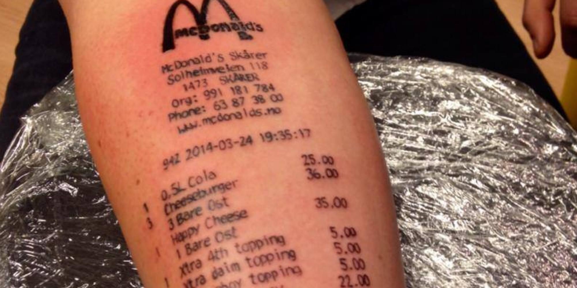 Loyal Customer Gets McDonalds Receipt Tattooed On Arm 2000x1000