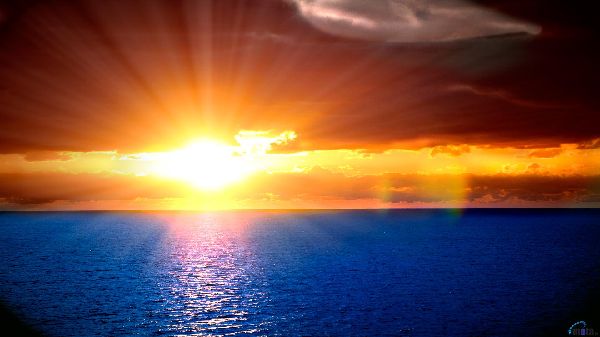 Download Wallpaper Orange sunset in the blue sea 1920 x 1080 HDTV 1920x1080