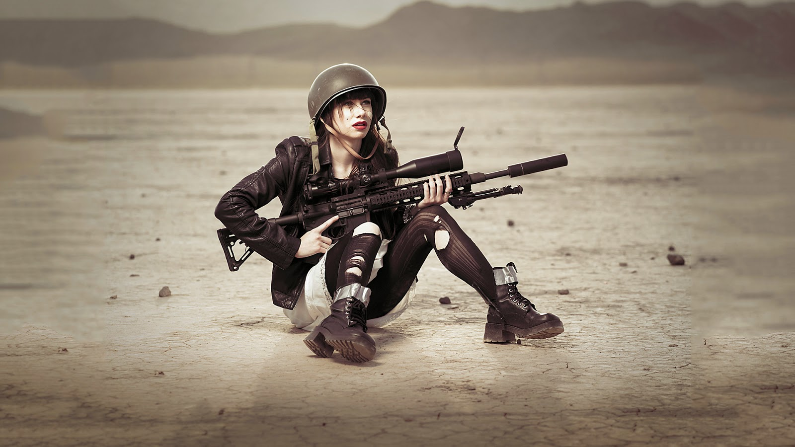 for show sha Women with Remington XM2010 Sniper Rifle HD Wallpaper 1600x900