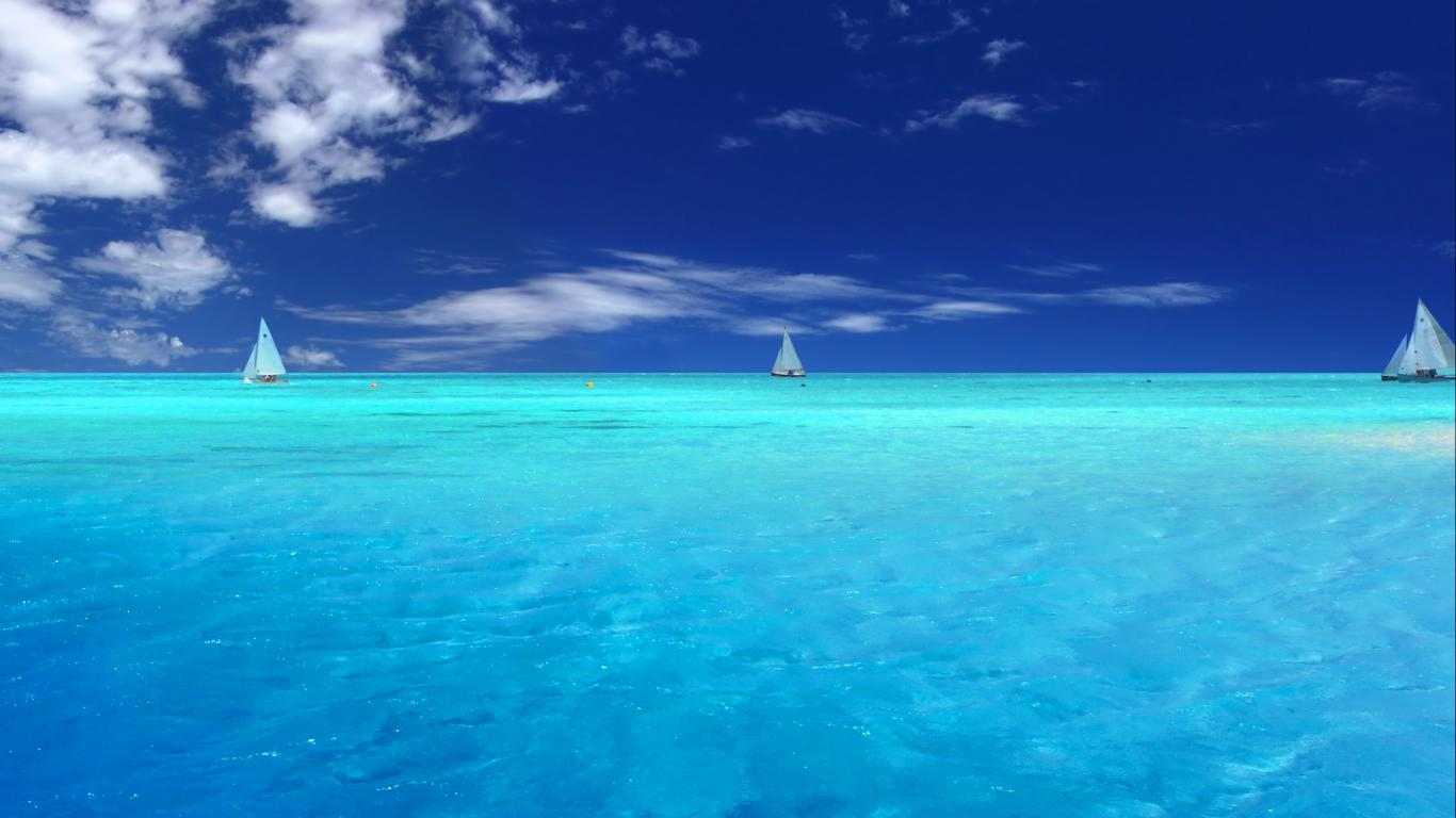Blue Ocean Desktop Backgrounds 1366x768