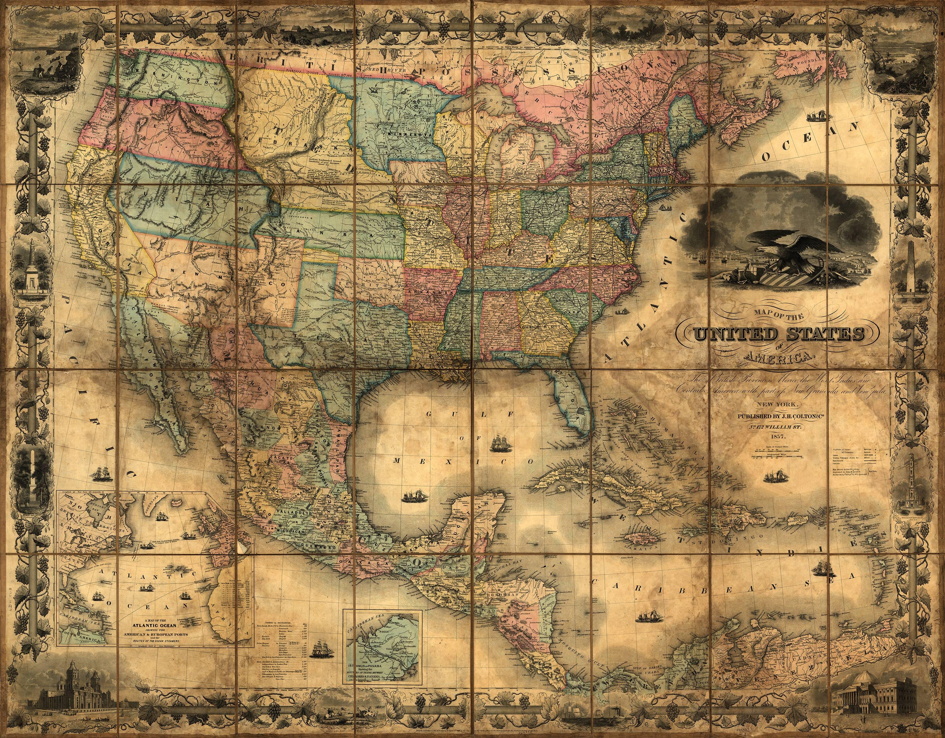 Wallpaper maps of usa wallpapersafari for Colonial mural wallpaper
