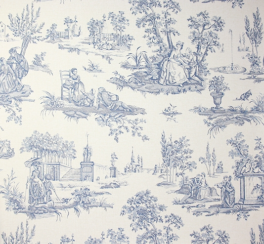 Toile Wallpaper A traditional small scale toile de jouy wallpaper 534x494