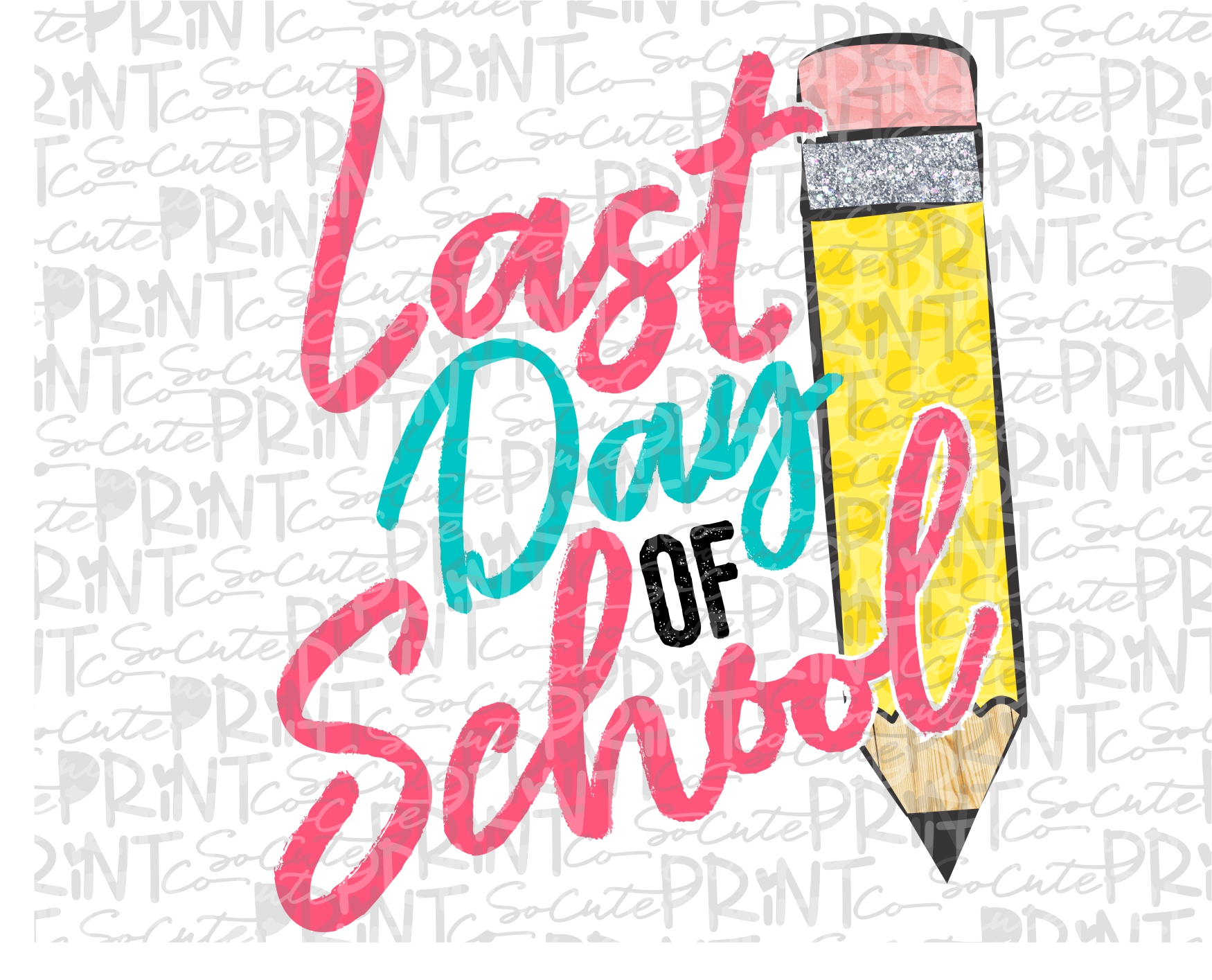 Last day of school pencil pink 19 Printable PNG 1750x1415