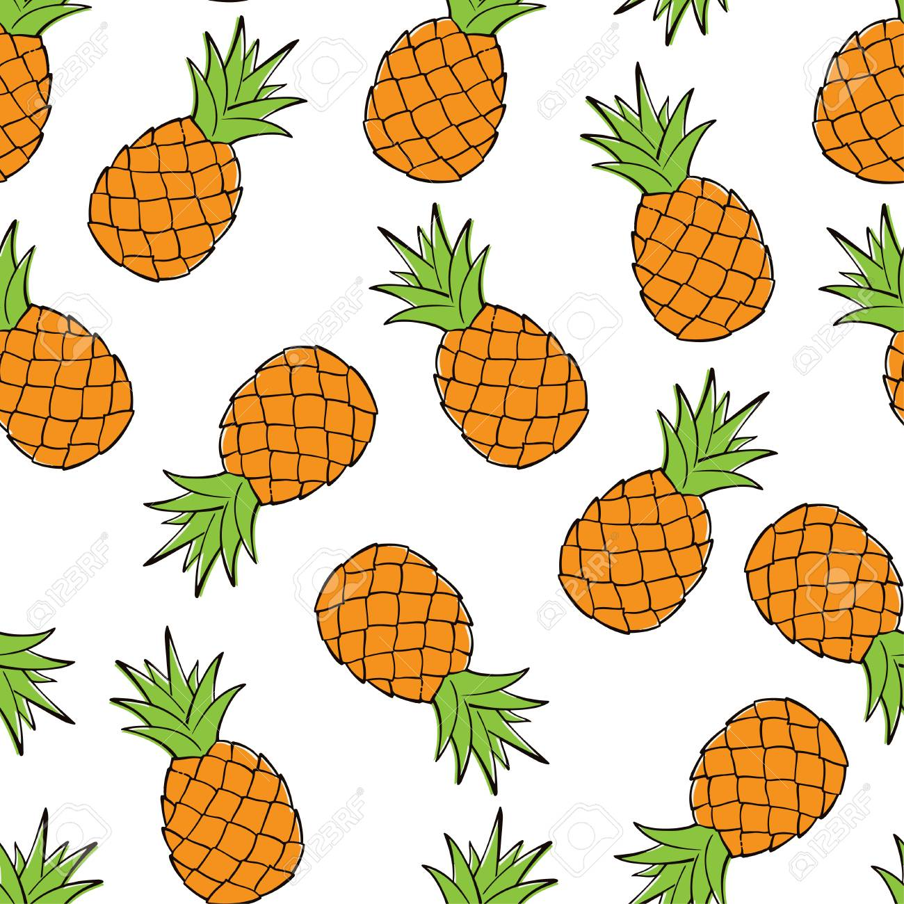 Seamless Pattern Of Pineapples Vector Illustration Food 1300x1300