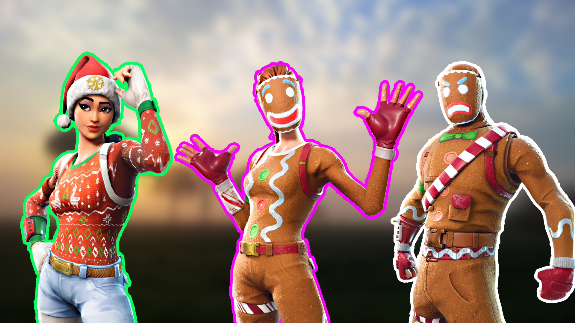 I tried making a wallpaper using some christmas skins FortNiteBR 1920x1080