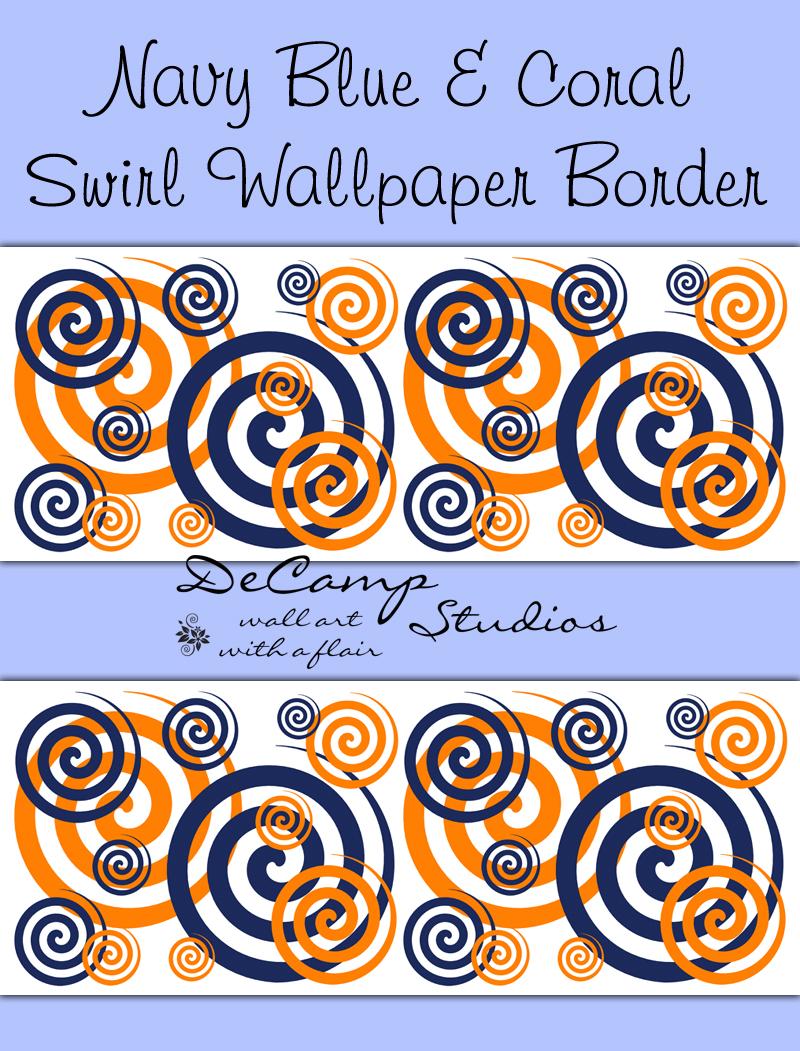 Navy Blue Coral Orange Swirly Twirly Wallpaper Border Wall Decal [417 800x1051