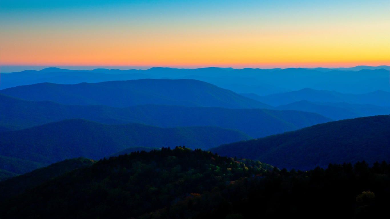 North Carolina Mountain Sunset 1366x768