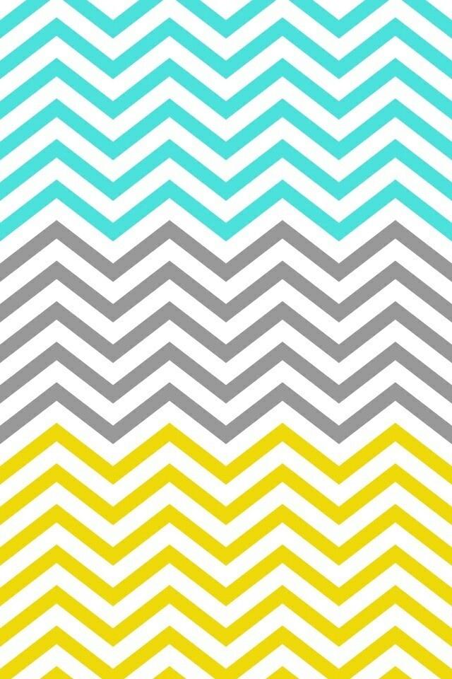 mint gray and yellow chevron wallpaper My room Pinterest Yellow 640x960