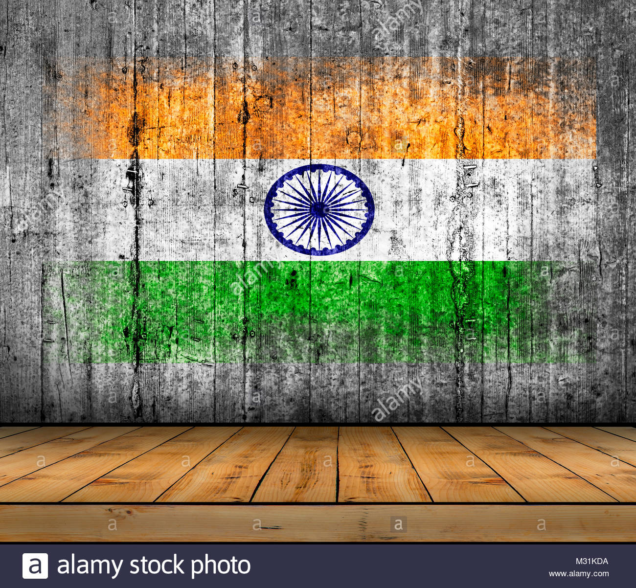 India flag painted on background texture gray concrete with wooden 1300x1202
