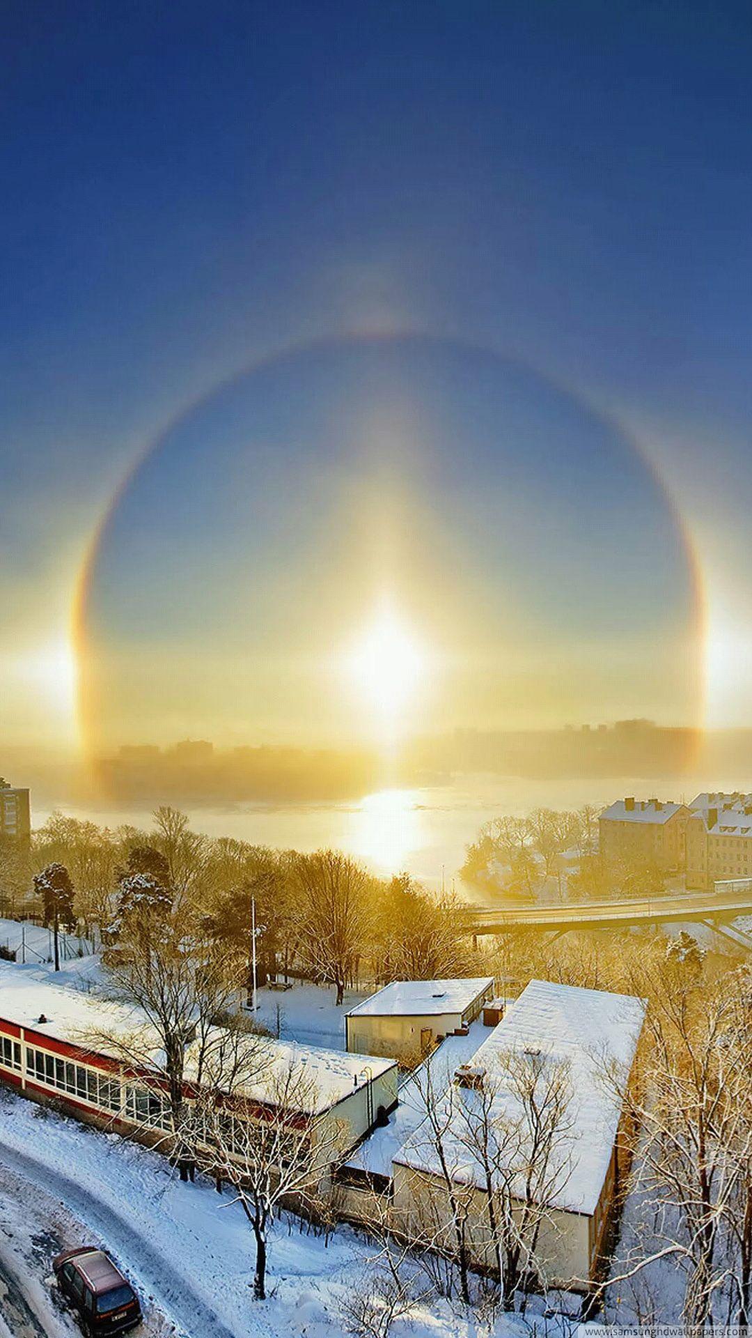 Winter town warm sunshine HD Samsung S4 wallpaper 1080x1920