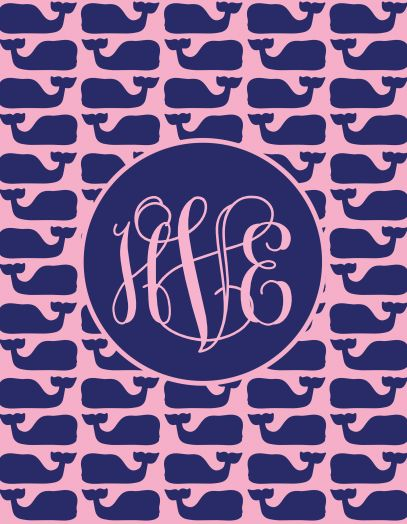 Whale monogram wallpaper Phone candy Pinterest 407x524