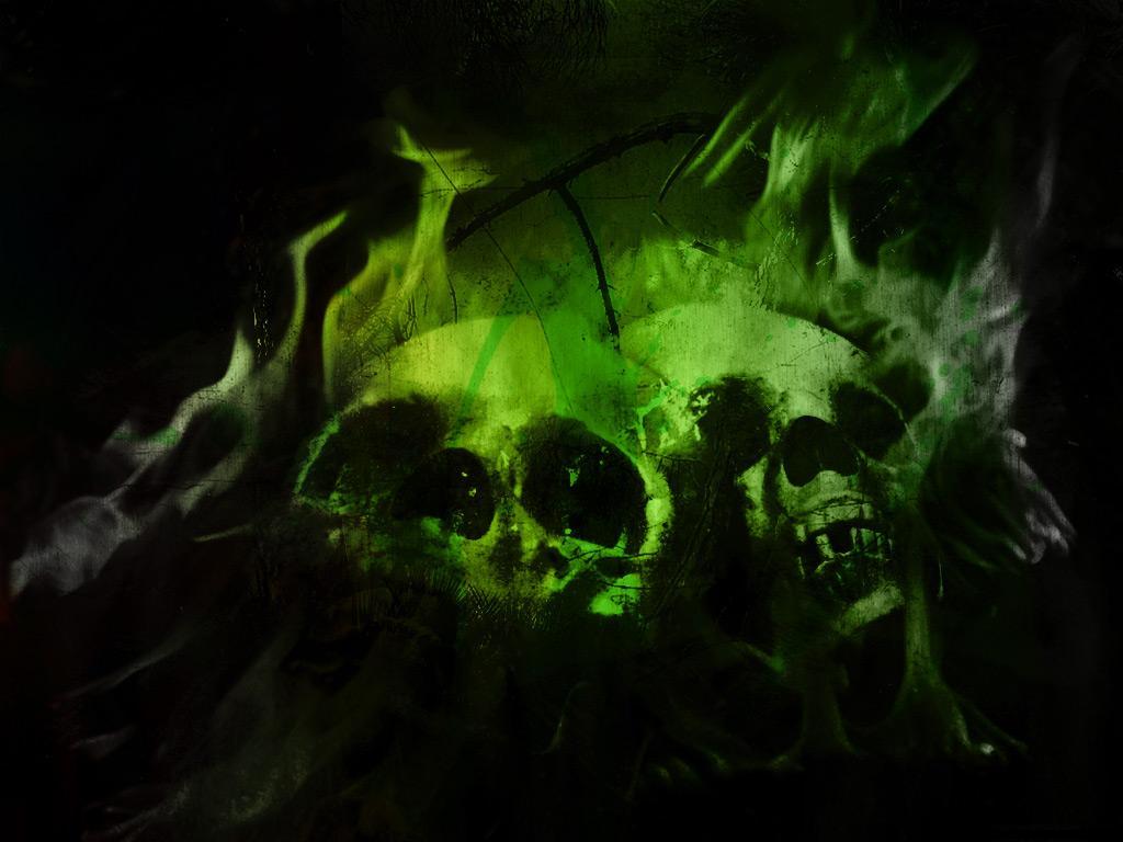 GREEN Download Artistic Skulls wallpaper green flaming 1024x768