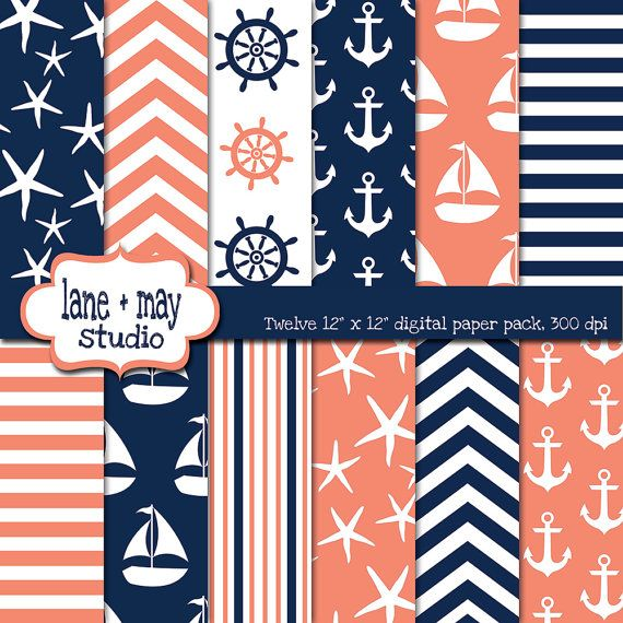 coral pink and navy blue nautical instant download coral pink and navy 570x570
