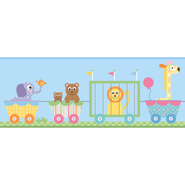 Circus Train Blue Prepasted Wall Border   Wall Sticker Outlet 600x600