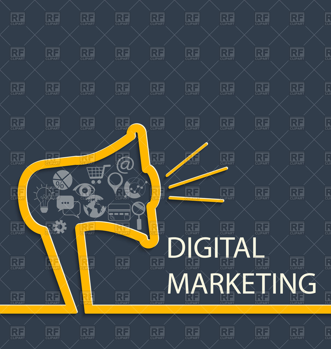 Digital marketing concept background with megaphone Vector Image 1137x1200