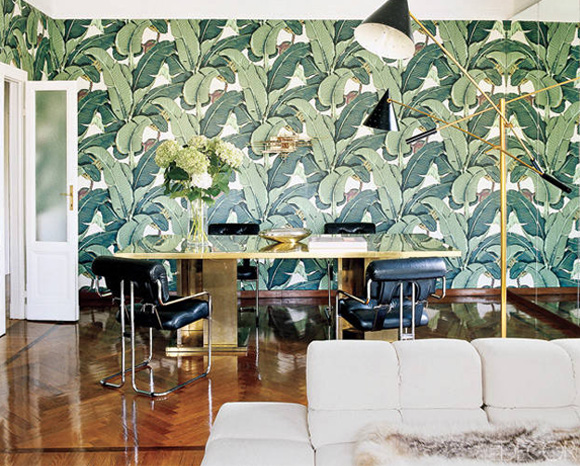 10 Of My Favorite Interiors with Palm Leaf Wallpaper Live The Life 580x466