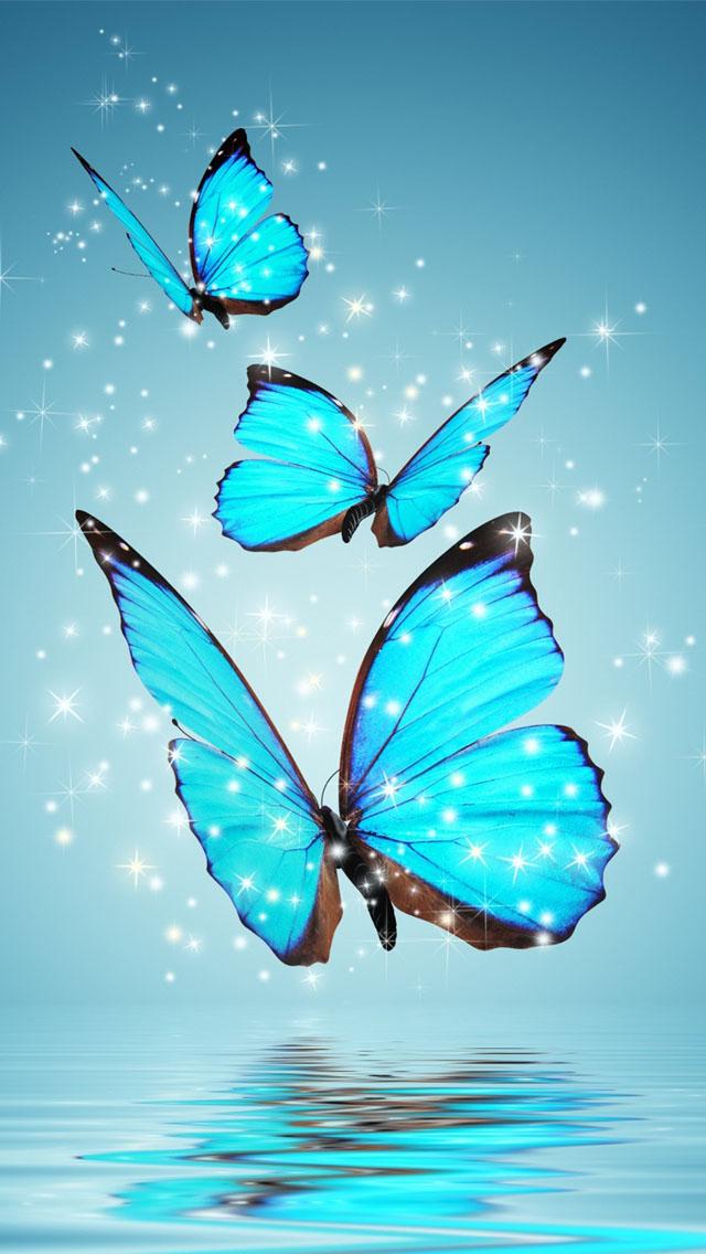 Blue Butterflies Wallpaper   iPhone Wallpapers 640x1136