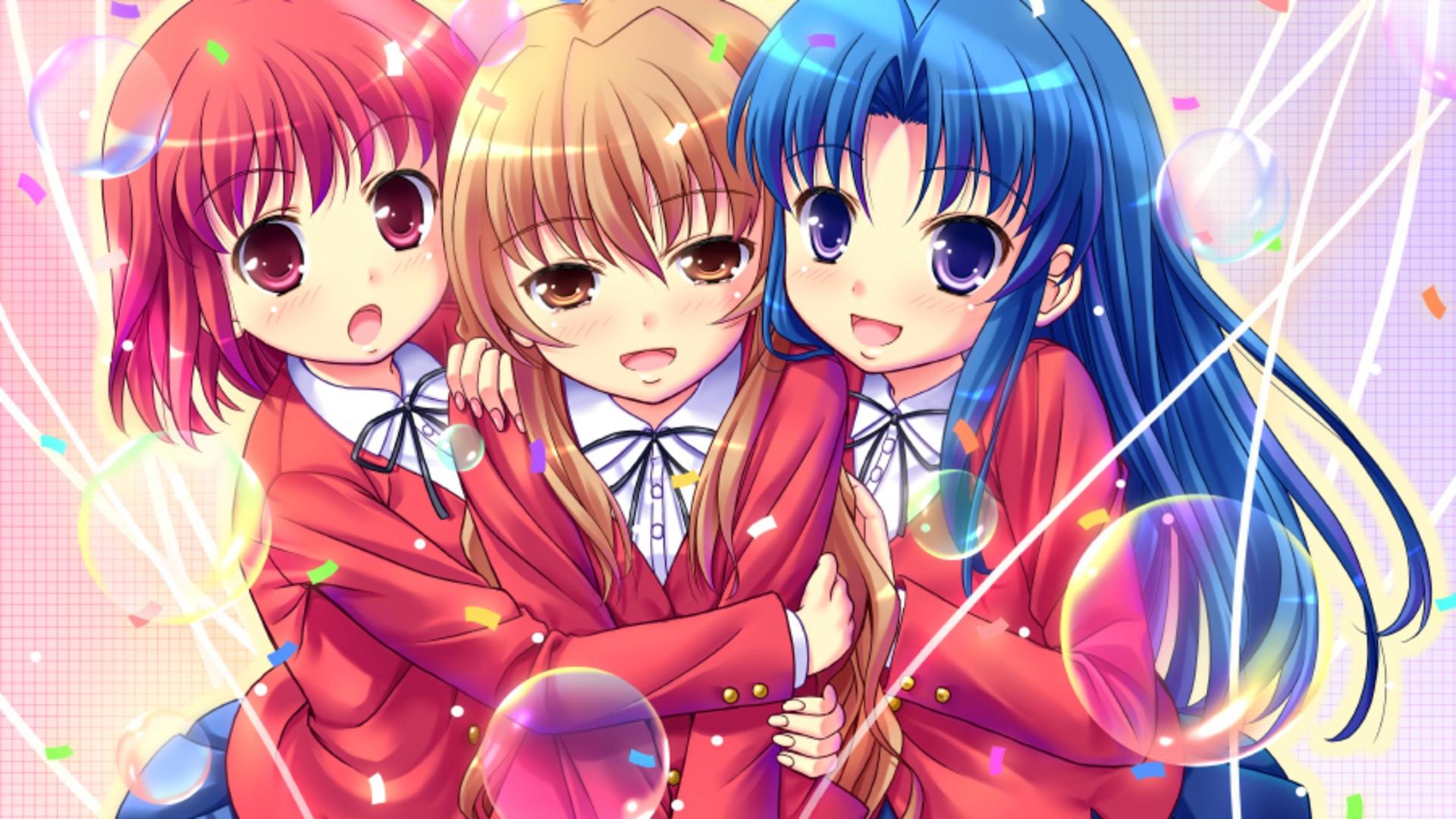 Download Wallpaper 1920x1080 anime girls cute smile hug Full HD 1920x1080