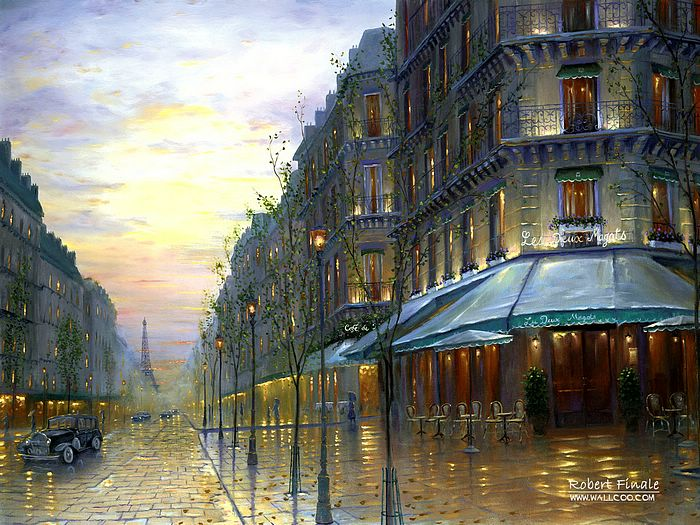 Cafe De Paris   Paris France Romantic Impressionistic Oil Painting 700x525